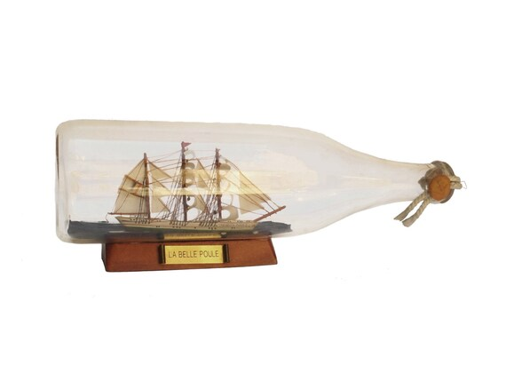 Sailing Ship Model in a Bottle, French Navy Schooner, Nautical and Coastal Decor