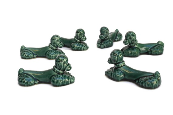 Green Ceramic French Poodle Cutlery Rests.