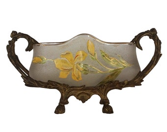 Antique Legras Glass Vase in Metal Jardiniere Stand, Hand Painted French Art Nouveau Planter