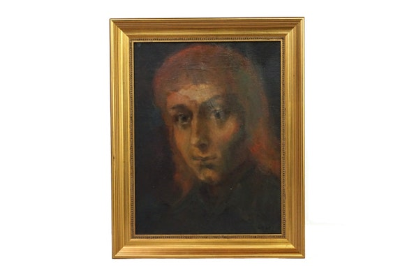 Man with Long Hair Portrait Painting, Original Vintage French Wall Art