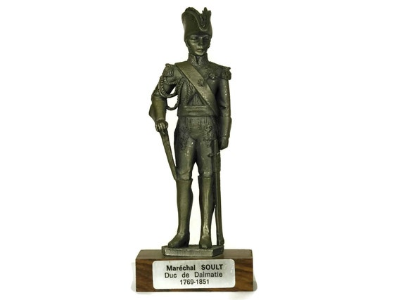 Pewter Soldier Figurine. Vintage French Etains du Prince. Collectible Military Model Figure of Marechal Soult. Gifts For Him.
