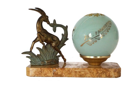 Art Deco Table Lamp with Gazelle Figurine on Marble Base with Glass Globe, Antique Home & Office Decor
