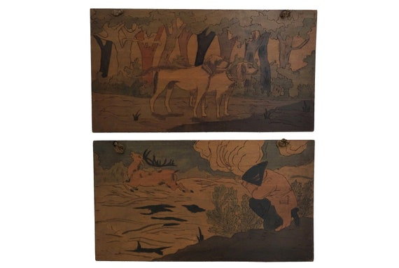 Antique Hunting Scene Pyrography Wooden Panel Wall Hanging with Hunter and Dogs, French Art Deco