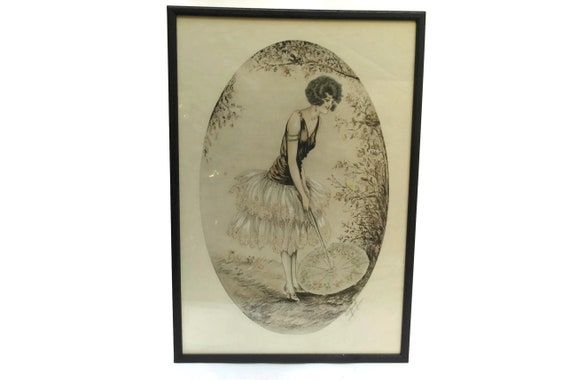 1920s Flapper Portrait Litho Art Print by Nelly Degouy. Framed Art Deco Wall Decor. Vintage Fashion Gifts.