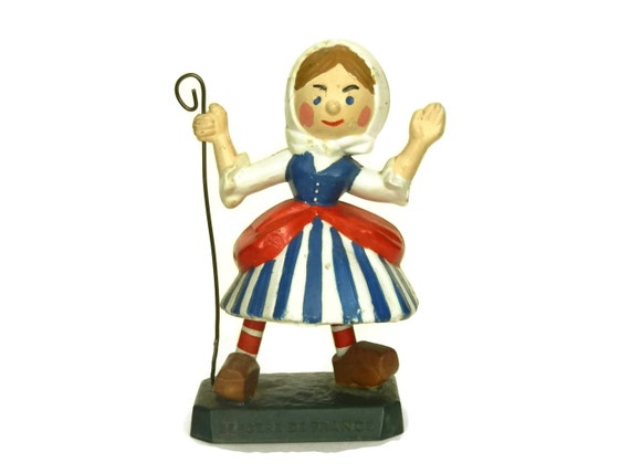 Vintage French Shepherdess Figurine, Wool Advertising for Bergere De France