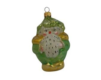 German Green Santa Claus Christmas Tree Ornament, Vintage Large Blown Glass Bauble
