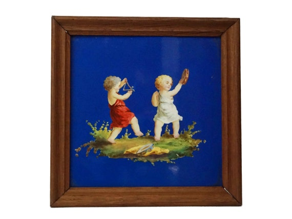 Antique French Putti Wall Tile by Creil Montereau, Hand Painted 19th Century Ceramic Musical Decor