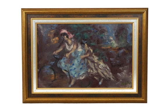 French Impressionist Painting with Women on Bicycle, Framed Original Signed Art