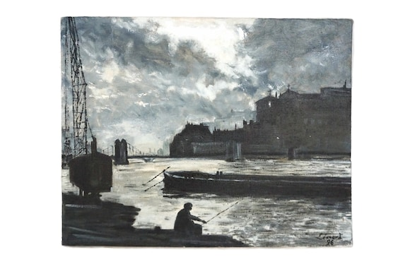 Harbor and Cityscape Painting with Fisherman and River, French Industrial Art