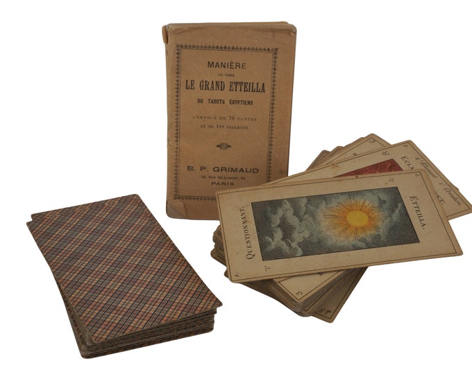 French Vintage Incomplete Deck of Grand Etteilla, Egyptian Gypsies Tarot Divination Cards