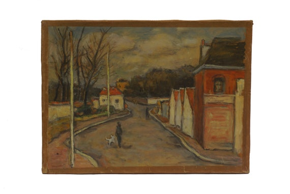 Robert Fleurent French Street Scene Painting with Man and Dog, Mid Century Village Architecture Art