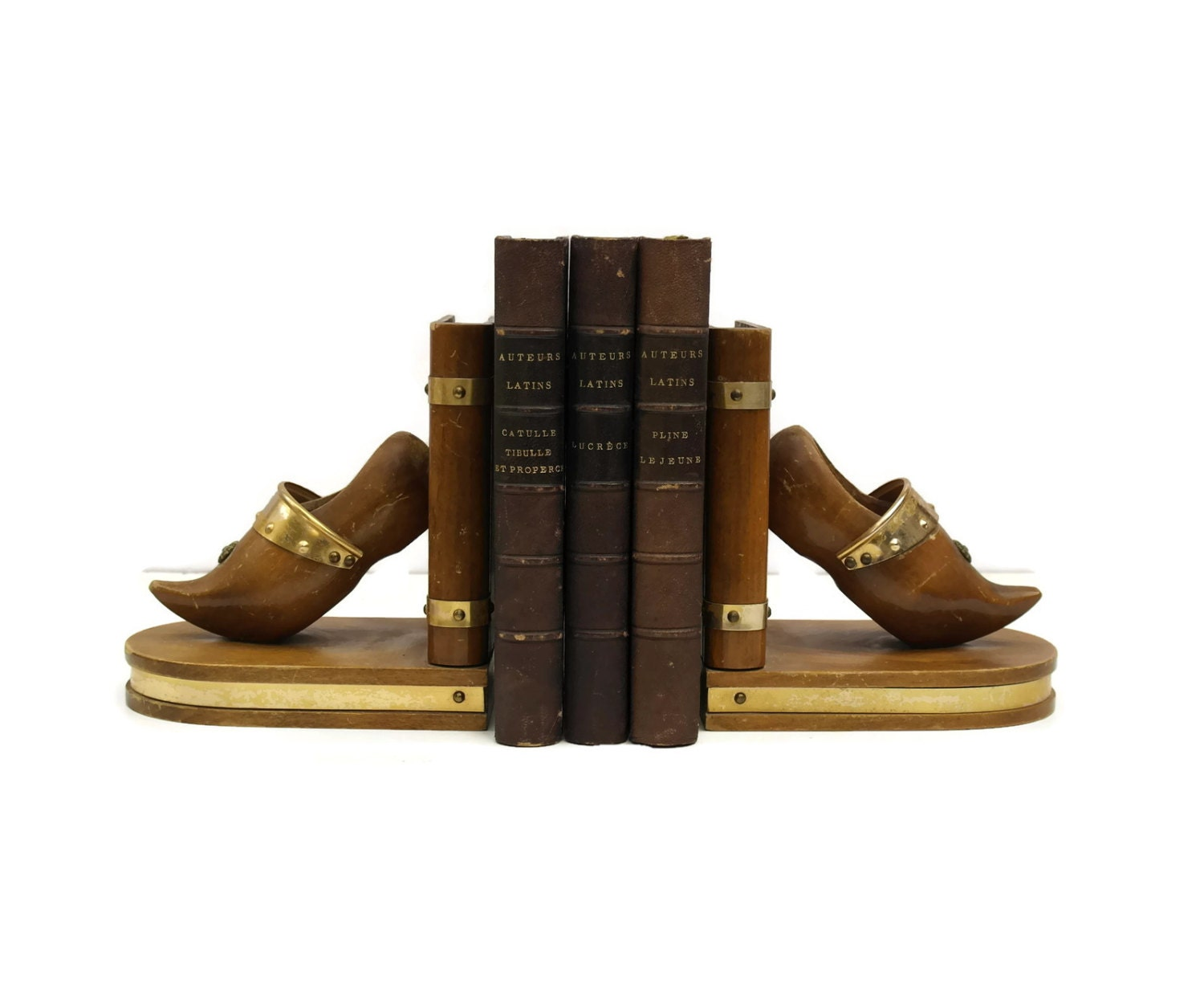 9016b6c049c19 Vintage French Clog Bookends. Vintage Wooden Bookends. French ...