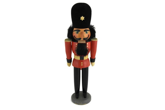 Vintage German Nutcracker Soldier Figure, Christmas Decoration, Fuchtner Seiffen Erzgebirge Hand Carved Wood Toy Guard