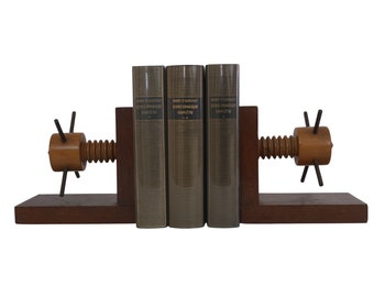 Industrial Wood and Bronze Bookends, Vintage French Office and Desk Decor