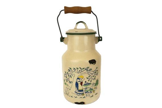 Vintage French Enamel Milk Pail, Shabby Farmhouse Enamelware Can