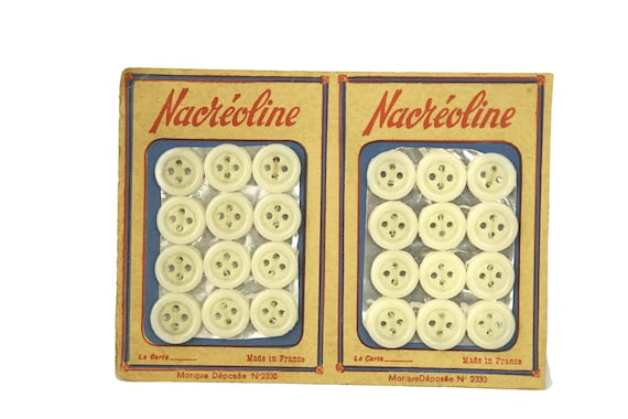 Vintage Collectible White Sewing Buttons, French Advertising Sample Card, Craft Room Decor, Gifts For Her