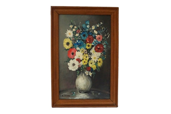 Vase of Flowers Still Life Painting, Mid Century Floral Bouquet Art