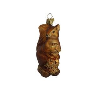 Vintage German Squirrel Figurine Glass Christmas Tree Ornament by Kathe Wohlfahrt