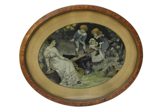 Antique French Silk Wall Hanging, Mother and Children Portrait Stevengraph by Neyret Freres