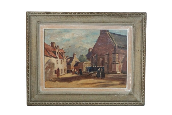 French Village and Church Painting, Framed Original Signed Art with Provence Town Street Scene
