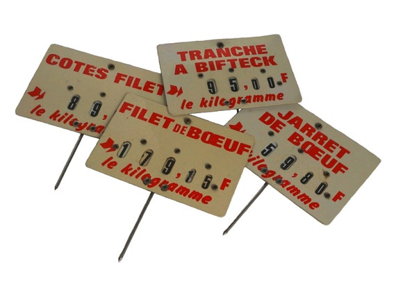 Butchers Beef Price Ticket Labels, Set of Vintage French Store Display Signs