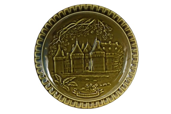 French Chateau Ceramic Plate by Gien, Green Majolica Castle Wall Decor