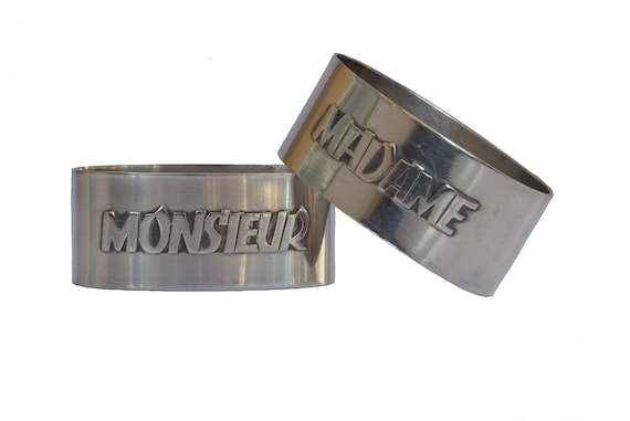 Madame and Monsieur Silver Napkin Rings, Art Deco French Serviette Holders, Wedding Gifts for Him and Her