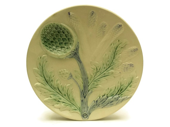 Antique Majolica Artichoke and Asparagus Plate by Luneville. French Ceramic Wall Plate Country Kitchen Decor.