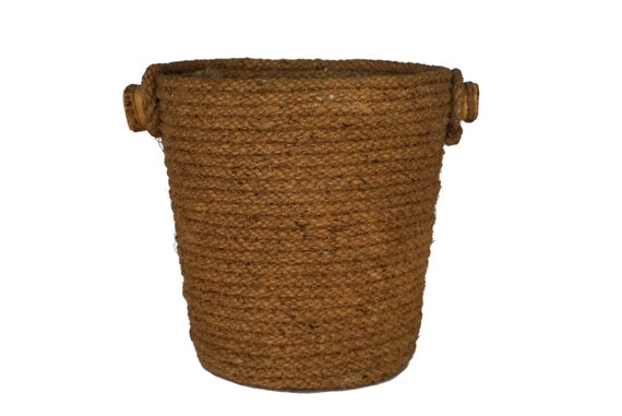 Vintage Rope and Bamboo Ice Bucket, French Champagne and Wine Bottle Chiller