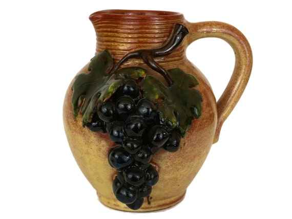 Rustic French Pottery Wine Jug with Vine Leaves and Grape Bunch