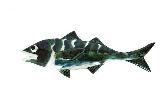 Ceramic Fish Figurine Wall Hanging, Pottery Coastal Art and Beach House Decor