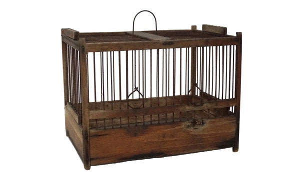 Antique French Wood and Wire Birdcage, Rustic Hanging Bird Cage