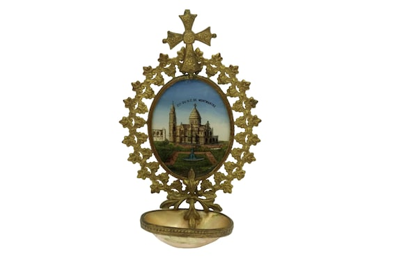 French Antique Holy Water Font, Paris Souvenir of Sacre Coeur in Montmartre, Religious Wall Hanging with Reverse Painting On Glass