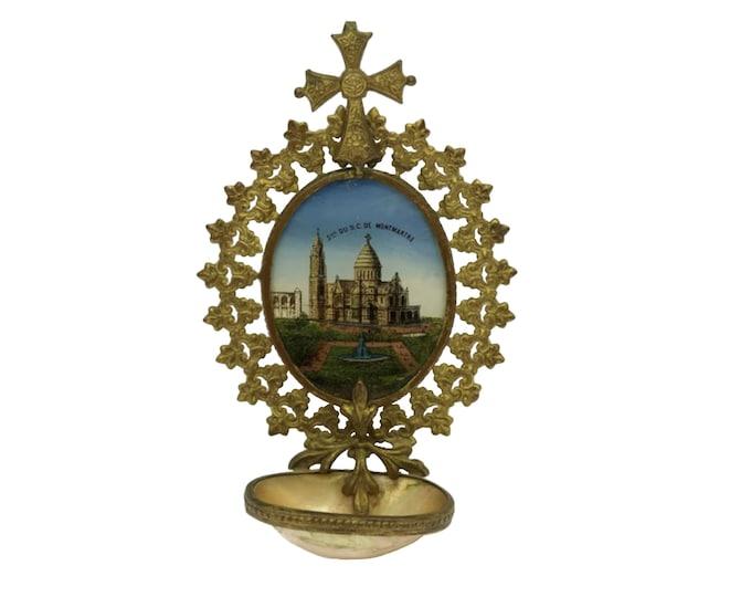 Antique Paris Holy Water Font, French Souvenir of Sacre Coeur in Montmartre