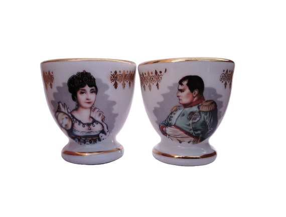 Napoleon and Josephine Portrait Egg Cups, Set of Two French Porcelain de Luxe Egg Holders