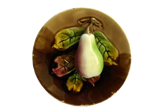 Antique French Pear Wall Plate, Orchies Ceramic Palissy Fruit And Leaf Plate Majolica