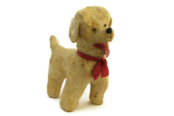 Vintage Stuffed Dog Toy with Red Ribbon Bow
