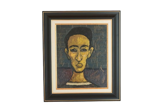 Mid Century Man Portrait Painting, Vintage French Framed Original Art