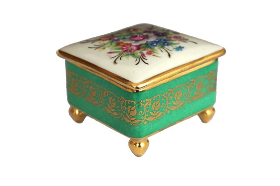 Limoges Porcelain Jewelry Box with Romantic French Flower Decor