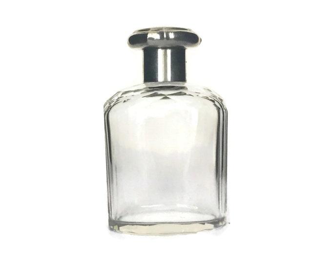 Edwardian Sterling Silver Perfume Bottle, Antique Cut Glass Sent Flacon