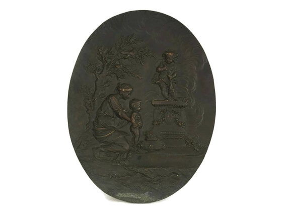 Mother and Child Portrait Wall Hanging, French Antique Bronze Cupid Art