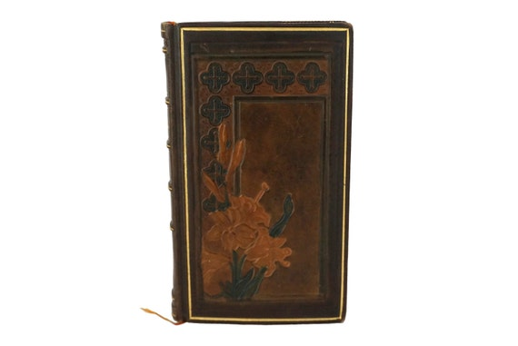 Art Nouveau Leather Bound Prayer Book with Illustrations by Elisabeth Sonrel, Antique French The Glories of Mary Catholic Missal