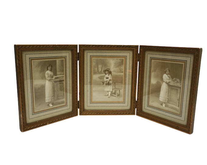 French Antique Triptych Photo Frame with Lady and Girl Portraits by Walery, Set of 3 Edwardian Folding Picture Frames