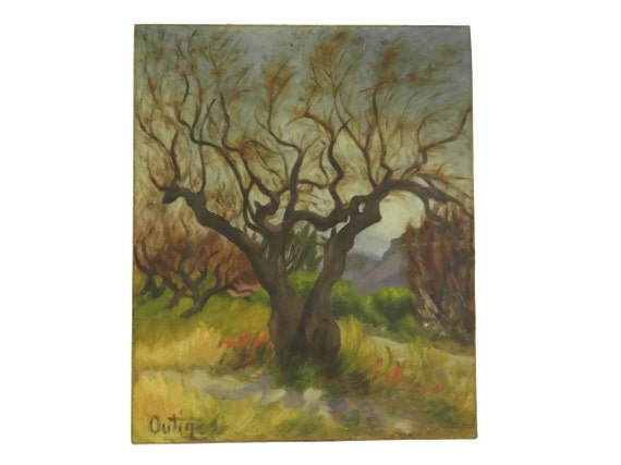 French Vintage Autumnal Tree Painting, Country Landscape Original Art
