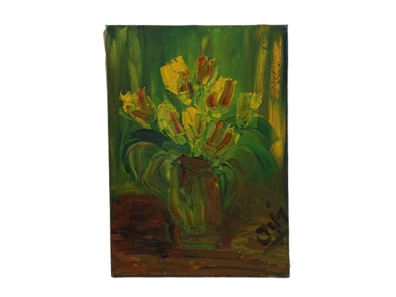 Modernist Tulip Flower Painting, French Floral Still Life Art