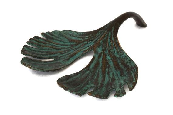 Vintage French Bronze Ginko Leaf, Signed Sculpture by Bernard Jobin