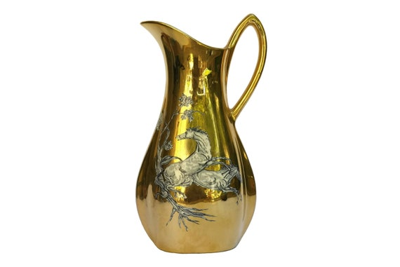 Gold Pegasus Crown Devon Pitcher, Mid Century Ceramic Horse Jug