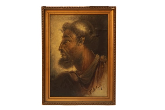 Ulysses Portrait Oil Painting by Francesco Berlingieri, Antique Framed Mythology Art, Old Man Profile