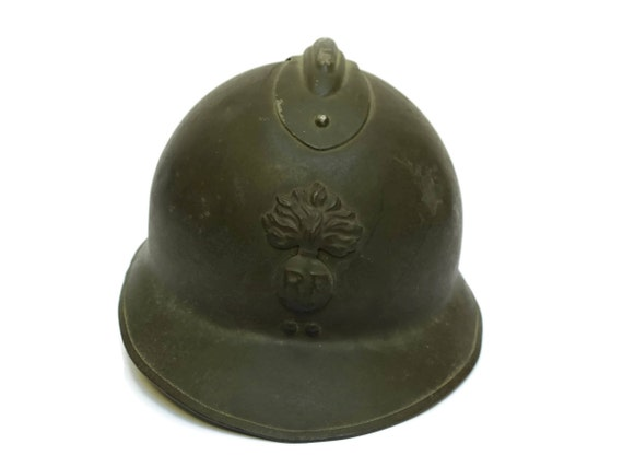 RESERVED for Alan. French Vintage WWII Adrian Helmet, Second World War Military Memorabilia, Collectible Militaria