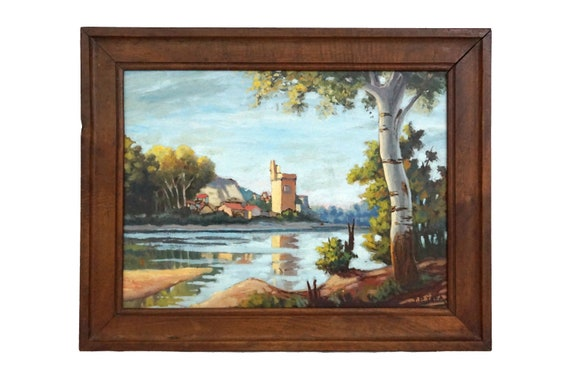 French River Landscape Painting with Tower and Fortress, Original Signed Art